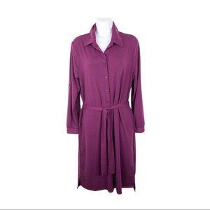 LulaRoe Ellie Classic Shirt Dress Burgundy Size S